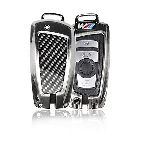 Cheng-store BMW Luxury Carbon Fiber Key Cover, Car Premium Key Protective Holder, Remote Key Fob Case Shell for BMW 1/2/3/4/5/6/7 Series, Fit Classical 4 Buttons