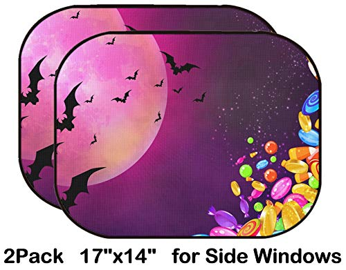 Liili Car Sun Shade for Side Rear Window Blocks UV Ray Sunlight Heat - Protect Baby and Pet - 2 Pack Image ID 33097596 Halloween Banner with Colorful Candies Falling Bright Moon and b