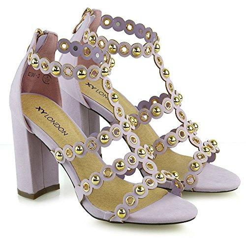 fiesta Bloque tachonadas ESSEX cremallera tacón tamaño con de mujer de baile mujer GLAM para para con Nueva lila correas zapatos sandalias qr7rZI
