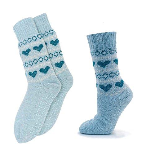 Damen Sherpa Boot Slipper Socken gestrickt Furry Warm Hausschuhe geschoben Socke Hellblau