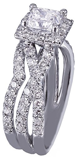 Princess Prong Set - 18K White Gold Princess and Round Cut Diamond Engagement Ring and Band Prong Set Split Shank Twisted Style Bridal Wedding Set 1.45ctw