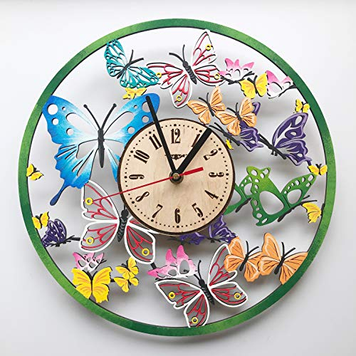 (7ArtsStudio Butterfly Wall Clock Made of Wood - Perfect and Beautifully Cut - Decorate Your Home with Modern Art - Unique Gift for Him and Her - Size 12 Inches)