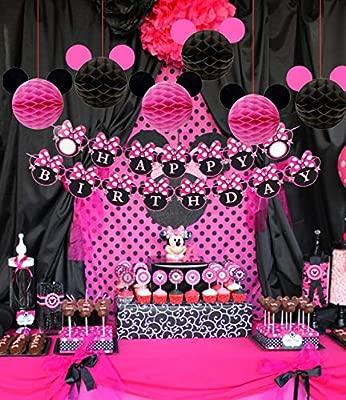 Kreatwow Minnie Mouse Birthday Party Supplies Decoraciones para niñas 1º 2º 3º Cumpleaños Baby Shower