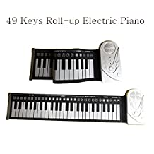 Portable 49 Keys Roll Up Soft Flexible Electronic Music Keyboard Piano Built-in Loud Speaker Recharge Battery for Children Beginner