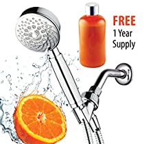 HotelSpa Fusion Vitamin C Chlorine Removing Shower-Head. 7-Setting Water Conditioning Handheld Shower with Overhead Bracket, Refillable Cartridge & Hose. FREE 1 Year Vitamin C Supply included