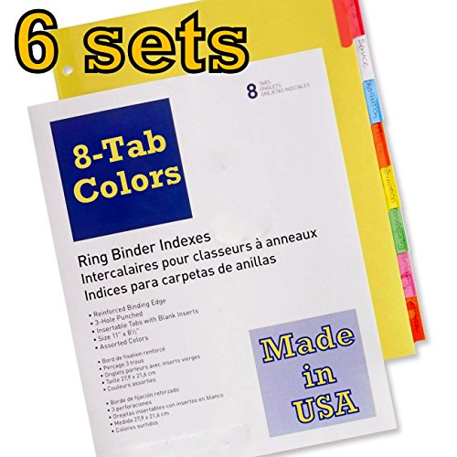 Current index dividers 8-tab color, compare to Wilson Jones Insertable Binder Tab Dividers, 8 Tab Multicolor (W54311A) - 6 packs of 8 sets