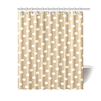 Amazon Brown White Polka Dot Waterproof Bathroom Decor Fabric