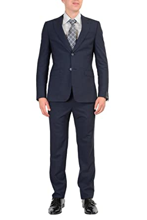ec52130d Amazon.com: ZZegna 100% Wool Navy Two Buttons Men's Suit US 46R IT ...