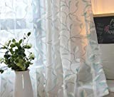 eTRY Sheer Embroidery Teal Blond Leaves Curtain Voile Grommet Top for bedroom 52W x 63L Inch 1 panel