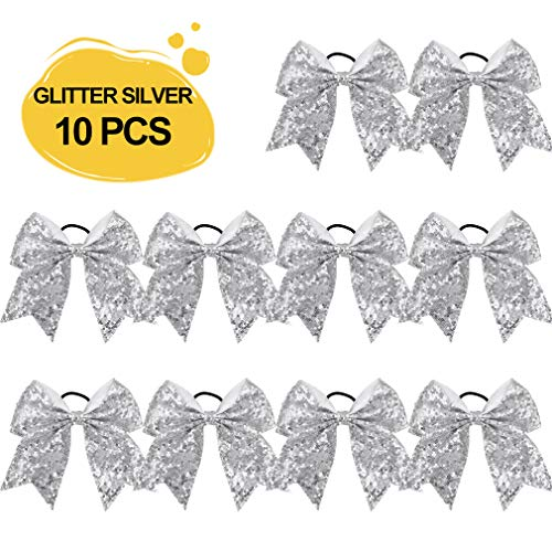 Large Glitter Cheer Bows Ponytail Holder Girls Silver Elastic Hair Ties 6
