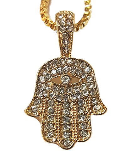 UrbanMixNY 14K Gold Plated Hand of God Hamsa Pendant Cubic Zirconia Pave on a 2mm 24