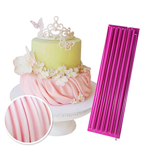 "ART Kitchenware 13""×3.9"" Gathering Fondant Mat Gum Paste Decor Mat Large Silicone Lace Mould Cake Decorating Fondant Mold with 7 Acrylic Sticks BLM-24"