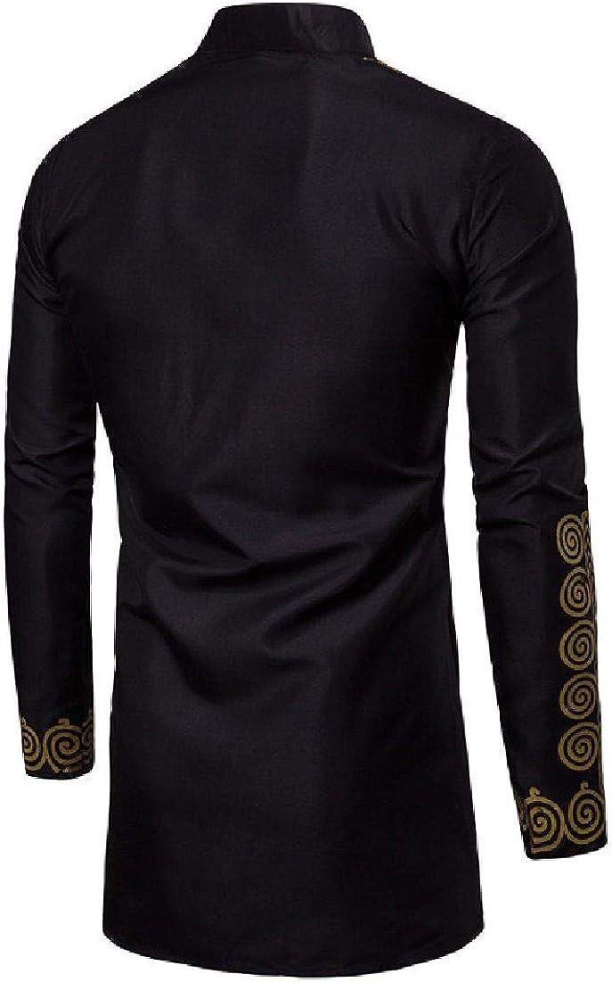 Fubotevic Mens Floral Shirt Metallic Dashiki African Print Luxury Ethnic Longline Shirts
