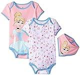Disney Baby-Girls Cinderella Bodysuits and Bib, Pink, 6-9 Months (Pack Of 3)