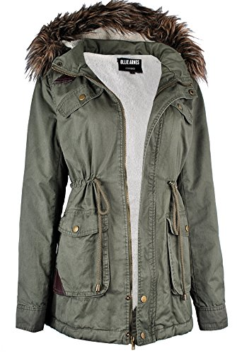 Ollie Arnes Women's Quilted or Inner Fur Lined Sherpa Anorak Down Parka Jacket 65_ Olive ()