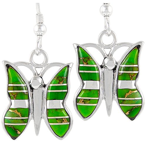 Butterfly Earrings 925 Sterling Silver & Genuine Green Turquoise Butterflies ()