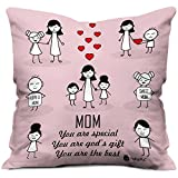 Indibni Mom & Child Happy Moments Beautiful Cushion Cover 12x12 with Filler - Pink - Gift for Mom Mother Birthday Home Decor