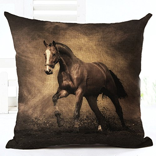Price comparison product image Oil Painting Horse Hand Painted Throw Pillow Case Cotton Blend Linen Cushion Cover Sofa Decorative Square 18 Inches (4)