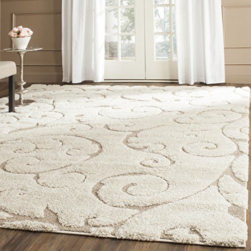 Safavieh Florida Shag Collection SG455-1113 Scrolling Vine Cream and Beige Square Area Rug (4′ Square)