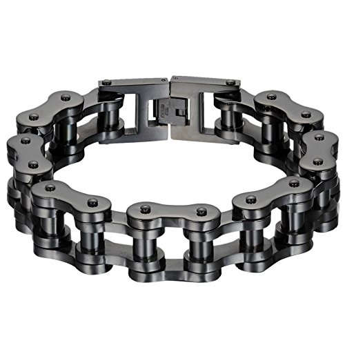 Oidea Mens Stainless Steel 18MM Wide Gothic Heavy Bicycle Chain Bracelet for Biker,9 Inch,Black