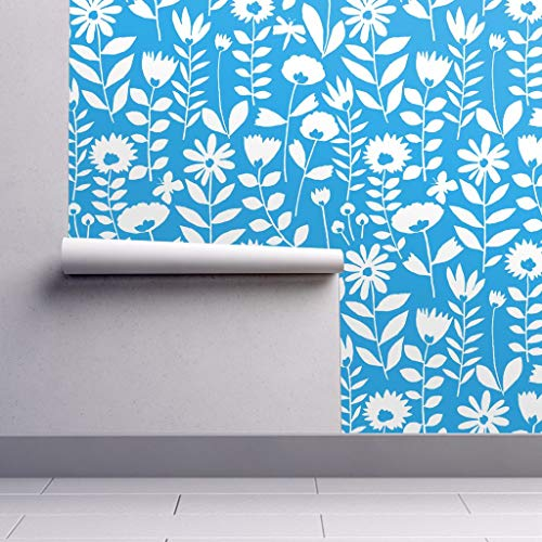 Peel-and-Stick Removable Wallpaper - Floral Butterflies Floral Garden Spring Decor Butterflies Flowers by Kate Rowley - 24in x 144in Woven Textured Peel-and-Stick Removable Wallpaper Roll