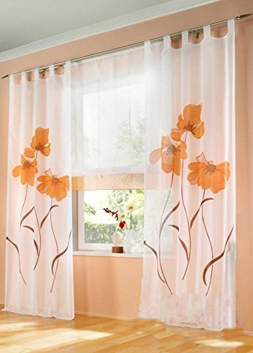 Uphome 1-Pair Romantic Home Decor Tab Top Flower Voile Sheer Window Curtain Panel, 59 x 88 Inch, Orange