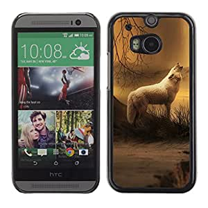 Qstar Arte & diseño plástico duro Fundas Cover Cubre Hard Case Cover para HTC One M8 ( White Wolf Forest Night Mist Fog Nature Art)