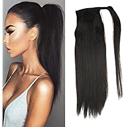 """LaaVoo 14"""" Human Hair Ponytail Extensions Silky Straight Color #1B Off Black 100% Real Remy Ponytail Wrap Hair 80 Grams One Piece"""