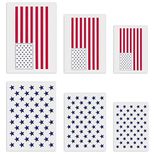 50 Stars Stencil,6 Pcs Reusable Flag Template for USA/American Flag,Multiple Sizes Star Stencil for Painting on Wood Paper Fabric Airbrush Walls Art DIY ()