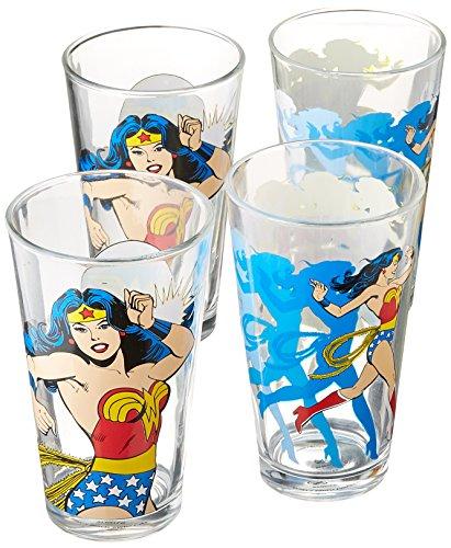 Zak Designs WWNF-4242 Wonder Woman Comics Glass Tumbler 4 Pi