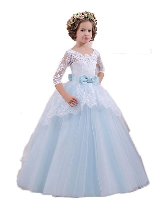 RMdress Baby Kind Mädchen Spitze Blumenmädchen Kleid Geburtstag Hochzeit  Prinzessin Urlaub Brautjungfer Tüll Kleid Kleider