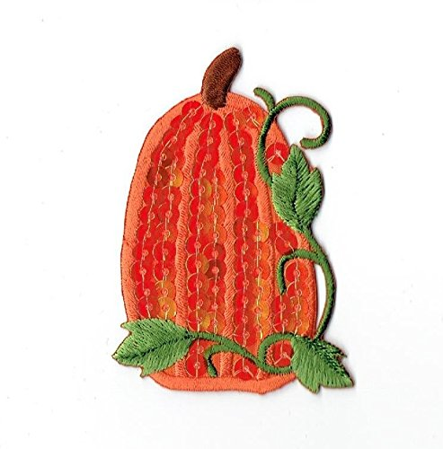 Large Sequin Orange Pumpkin Iron on Embroidered Patch