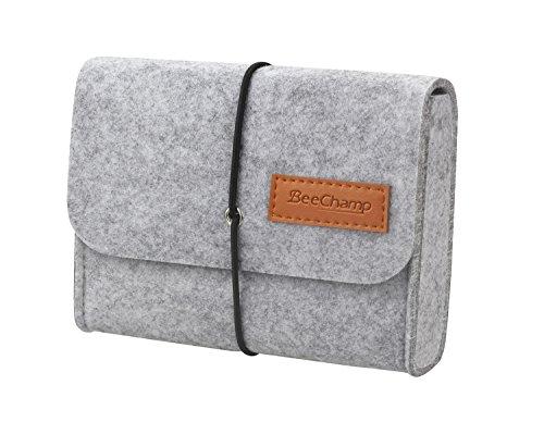 BeeChamp Accessory Organizer Bag Travel Felt Pouch for Hard Drive SSD Power Bank - 6.5in (Light Grey)