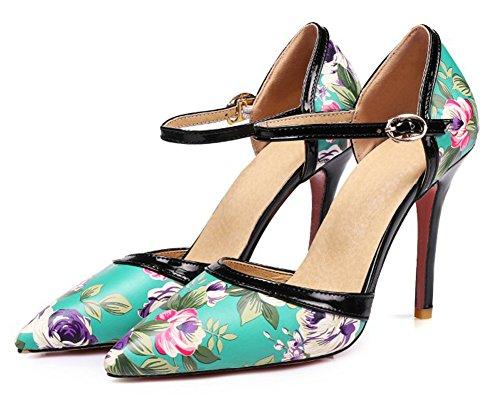 Aisun Donna Stampa Floreale Con Fibbia Dressy Scarpe A Punta Stiletto Tacco Alto Scarpe Dorsay Con Cinturino Alla Caviglia Blu