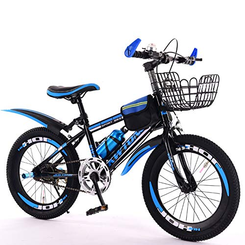 """Children's bicycle LLL 6-7-8-9-10-11-12 Years Old Baby Carriage Boy Pupils Bicycle Mountain Single Speed (Color : Blue, Size : 20"""")"""