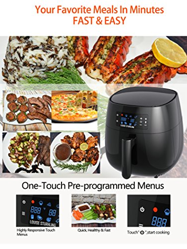 LOUISE STURHLING All-Natural Healthy Ceramic Coated 4.0L Air Fryer. BPA-FREE, PTFE & PFOA-FREE, 7-in-1 Pre-programmed One-touch Settings, Exclusive BONUS Items - FREE COOKBOOK, TONGS & PIZZA PAN by Louise Sturhling (Image #6)