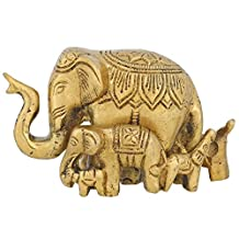 Handmade Brass Ornament Gifts Indian Figurine Elephant and Calves Statue 3.5 Inch 402 Grams