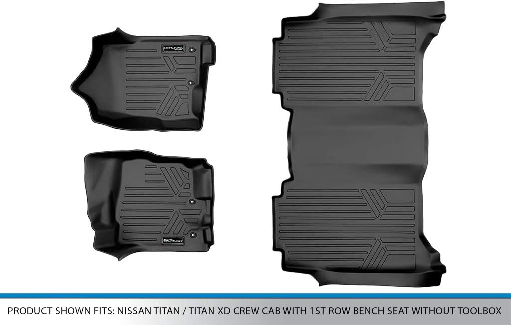 SMARTLINER Floor Mats 2 Row Liner Set Black for 2017-2019 Titan 2016-2019 Titan XD Crew Cab 1st Row Bench Seat Without Toolbox