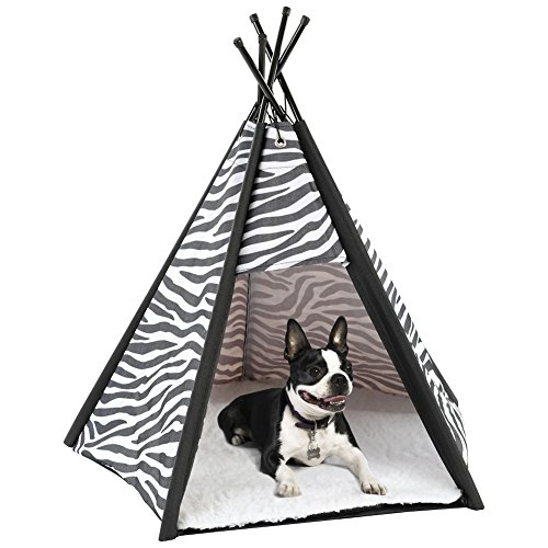 Etna Portable Lightweight Teepee Pet Tent - Warm and Cozy With Soft Bed Padding For Dogs, Cats, Puppies, and Rabbits. Indoor/Outdoor, Office, (Soft Tent)