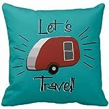 Damuyas Teal Teardrop Camper Retro Pillowcase Decor Throw Pillow Case Cushion Cover (RV)