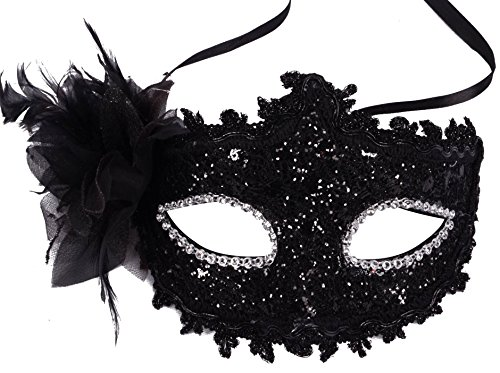 Simplicity Sheer Lace and Floral Mardi Gras Masquerade Costume Mask, 3733_Black