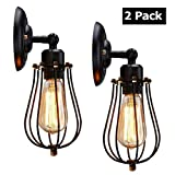 Wire Cage Wall Sconce, KingSo 2 Pack Dimmable Metal Industrial Wall Light Shade Vintage Style Edison Mini Antique Fixture for Headboard Bedroom Garage Porch Mirror (No Bulb)
