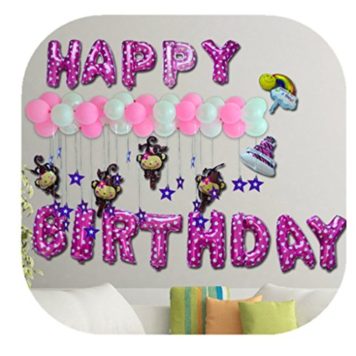 Happy birthday foil balloons banner, letters monkey shaped party celebration decorations (Letter Home To Parents For Halloween Party)