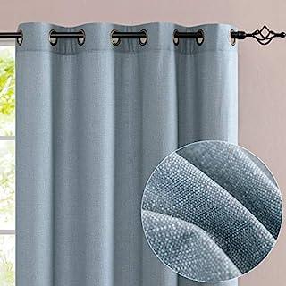 jinchan Window Treatments for Bedroom Microfiber Textured Look Curtains for Living Room Grommet Top (2 Panels, 52x63, Blue)