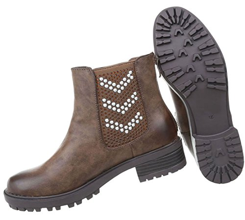 Damen Schuhe Stiefeletten Used Optik Boots Braun