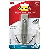 Command Large Double Bath Hook, Satin Nickel, 1-Hook, 1-Large Water-Resistant Strip