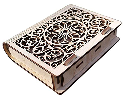 - Wooden Jewelry Box Decorative Cassette Carved Bookcase Secret Trick Book Box Handmade Wooden Secret Book Puzzle Bohemian. Great Gift for Book Lovers
