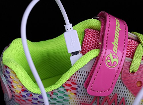 Shinmax LED Zapatos, Primavera-Verano-Otoño Transpirable Zapatillas LED 7 Colores Recargables Luz Zapatos de Deporte de Zapatillas con Luces Para Niños Niñas con CE Certificado rosa