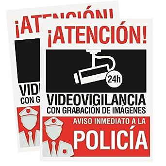 Pack 2 carteles rígidos 15 x 19cm Atencion alarma conectada videovigilancia con grabación de imágenes Carteles disuasorios rígidos Uso exterior Cartel ...