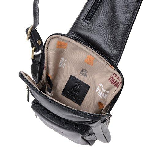 Herren-Bodybag aus echtem Leder mit Träger der Marke Nuvola Pelle Schwarz